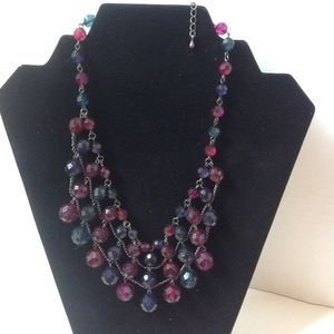 Majestic Purple Red Blue Fringe Beaded Necklace